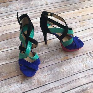 Gianni Bini Color Block Sandals Heels Pink Blue
